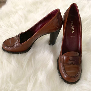 Prada Leather Brown Penny Loafer Pumps